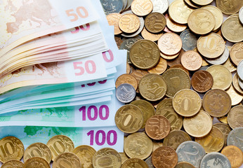 Variety of coins and euro banknotes