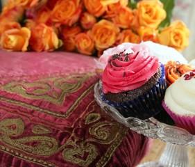 Cupcakes colorful muffin pink orange cream vintage