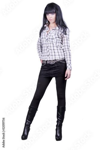 девушка брюнетка в полный рост из flashfeit, Роялти-фри стоковое ...