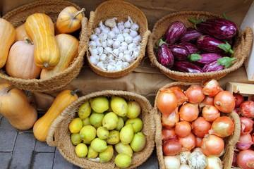 fruits and vegetables market garlic onion lemon eggplant