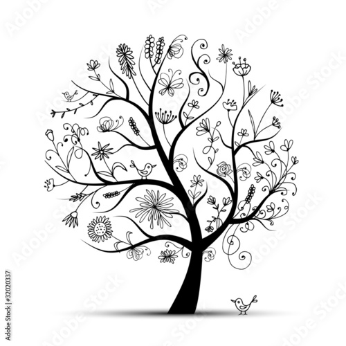 Vecteur : Art floral tree black for your design