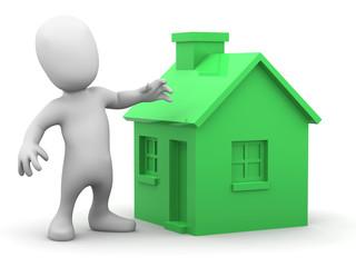 3d Little man has a green house