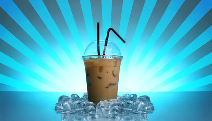 Cold coffee drink with abstract blue background