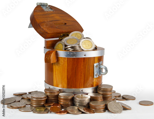 Full silver coin in a bucket