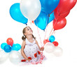 Little girl with balloons.