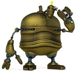 big robot holding the football ball