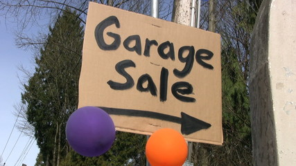 Garage Sale Sign With Balloons