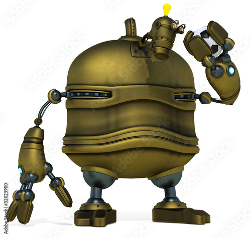 big robot holding the football ball