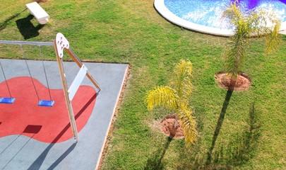 children park garden high viewpoint grass swing