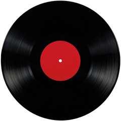Black vinyl lp album disc isolated long play disk blank red