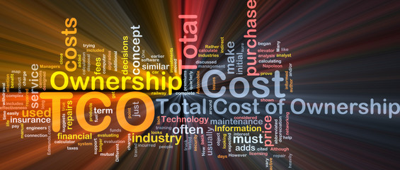 Total cost of ownership background concept glowing