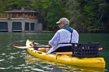 Close up of Man Fishing in a Kayak