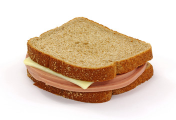 Bologna And Cheese Sandwich On White Background