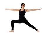 woman stand in yoga pose - Hight Lunge isolated poster