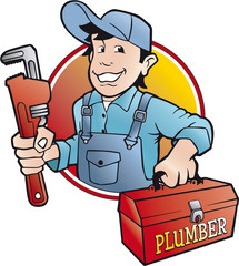 plumber vector badge