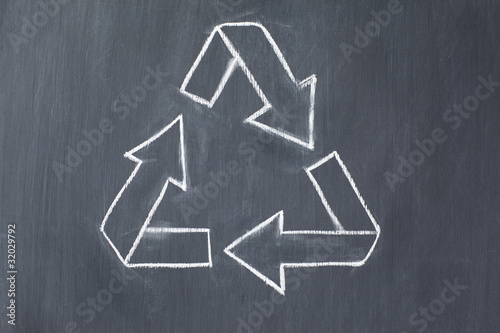 Vector recycle symbol on a blackboard