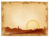 Desert Sunset with Cactus in sunset on old vintage paper backgro