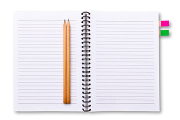 white notebook and pencils isolated