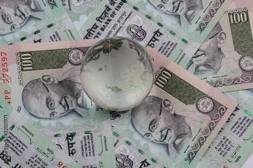 Indian Currency Notes Rupees with a Globe on it