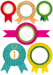 Set of six rosettes isolated on white