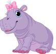 Cartoon baby Hippo girl