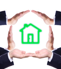 home icon in hand make house isolated