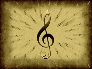 Treble clef on the old brown background