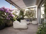 grande terrazzo con moderne poltrone e fiori - Fine Art prints