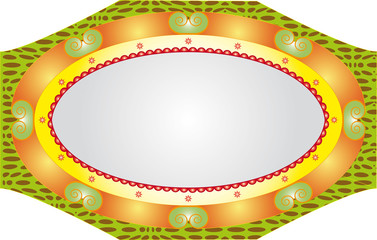 Oval massive stylistic mirror frame isolated on white