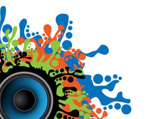 Music splash background with speaker