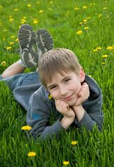 boy lying on dandelion meadow