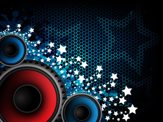 Music abstract background with loudspeakers and stars