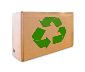 recycle sign on cardboard box isolated