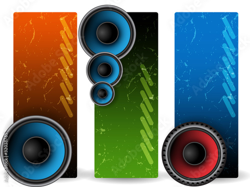 Three music banners with speakers