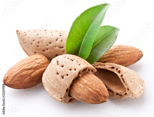 Group of almond nuts.