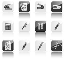 Twelve stationery icons