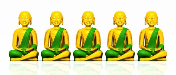 Five golden Buddhas on white - green