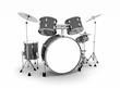 Schlagzeug Schwarz Silber - freigestellt 01 - 32041547