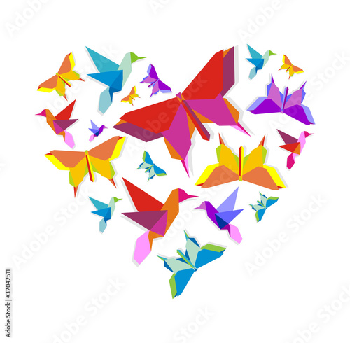Deurstickers Geometrische dieren Spring Origami bird love