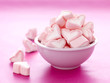 Bowl full of sweet heart shaped marshmallows
