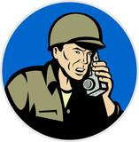 world war two soldier talking on radio walkie talkie poster