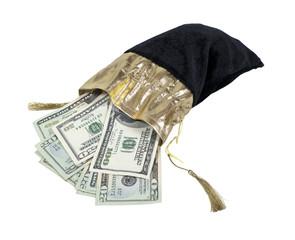Money in a Velvet Drawstring Bag
