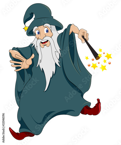 Old sorcerer cast spell on a white background