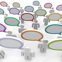 Large Group of People Talking - Speech Bubbles