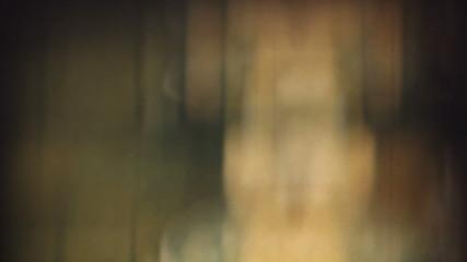 Close-up macro shot of actual 8mm film projector gate.