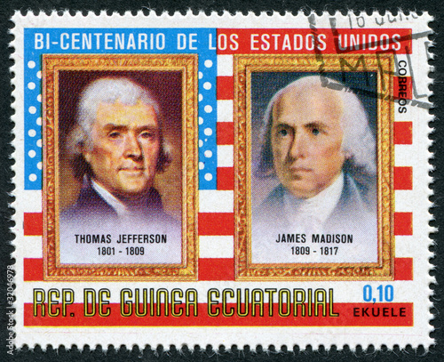 Postage stamp Equatorial Guinea 1975: T.Jefferson and J.Madison