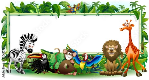 Animali Selvaggi Cartoon Giungla-Wild Animals Background-2