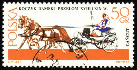 Chaise - old carriage on post stamp