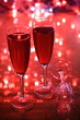 Champagne on red background