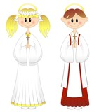 Bambini Prima Comunione-Boy and Girl First Communion-Vector
